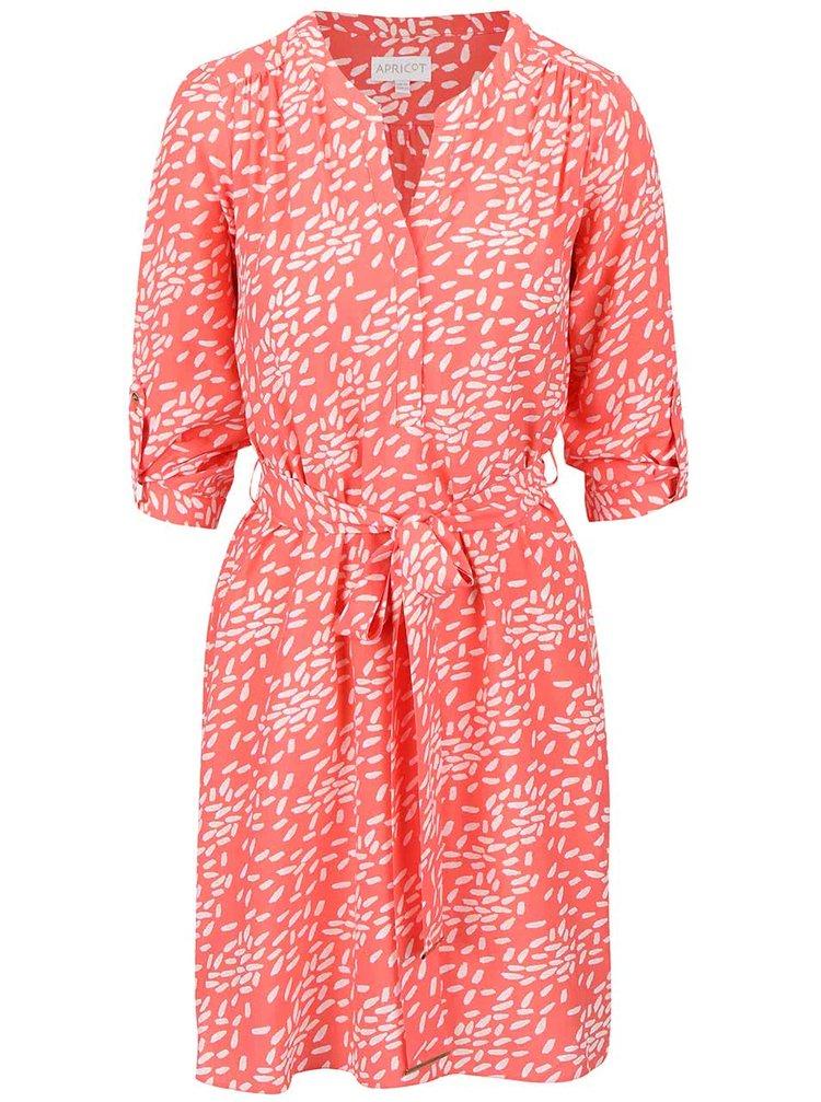 Korálové vzorované šaty s 3/4 rukávy Apricot