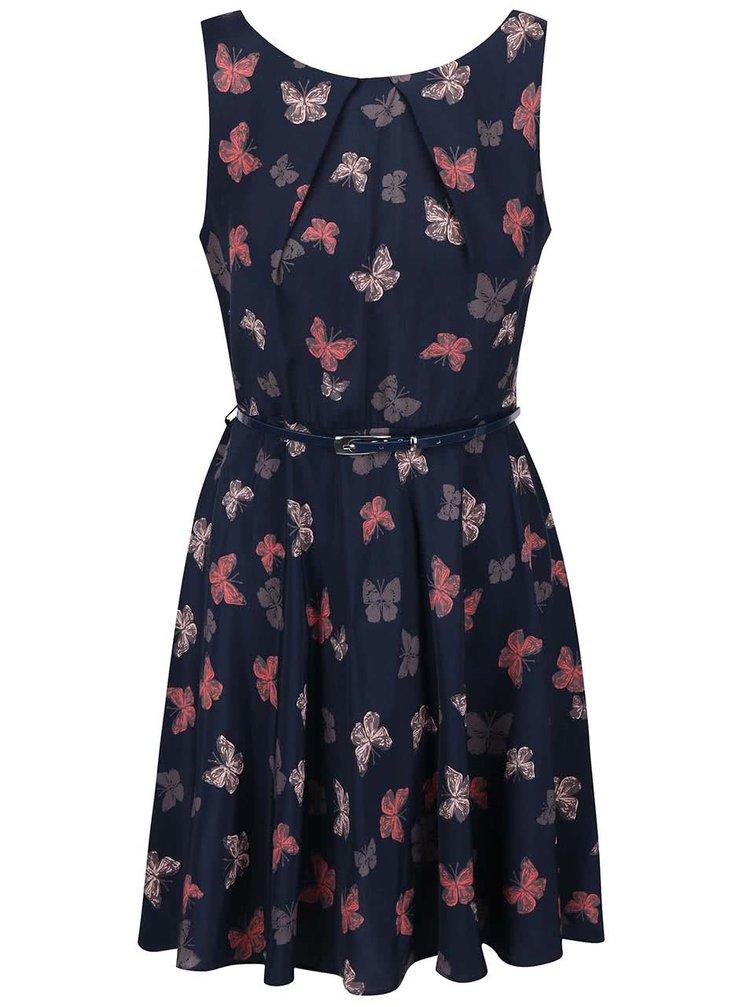 Tmavě modré šaty s motýlky a páskem Apricot