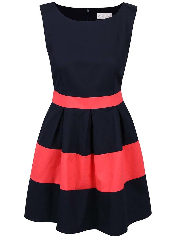 Modré šaty s červenými pruhy Apricot