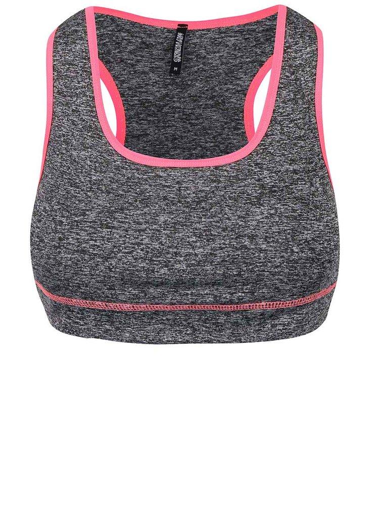 Neonově růžovo-šedá sportovní podprsenka Haily´s Sport