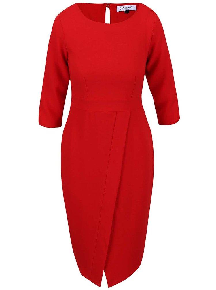 Červené šaty s rozparkom na prednej strane a 3/4 rukávmi Closet