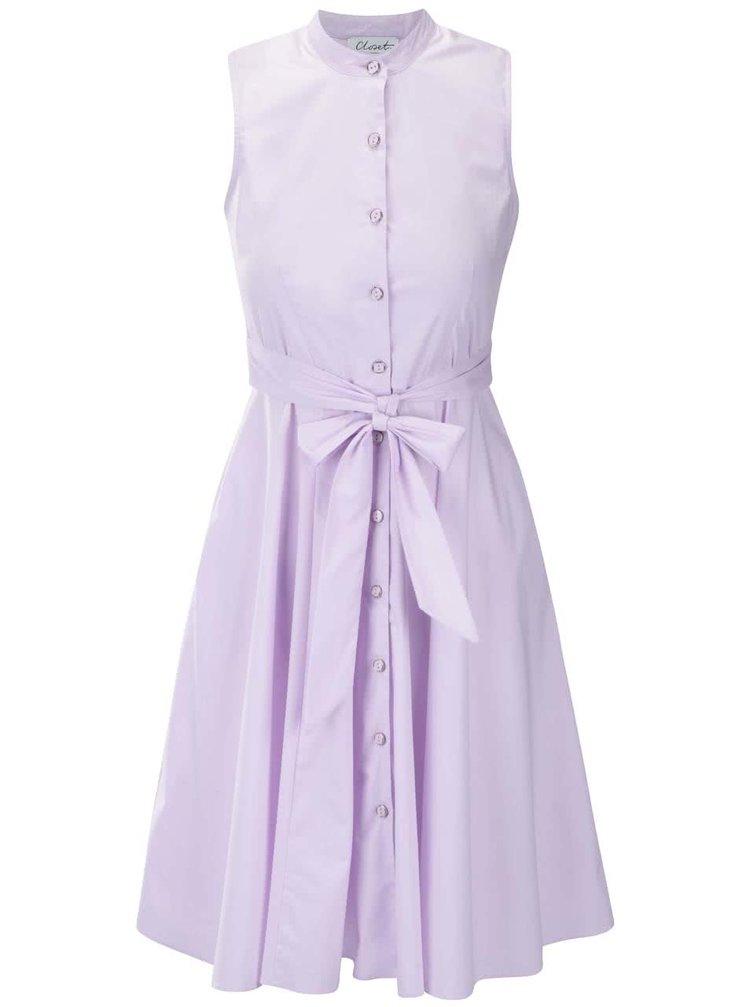 Lila šaty bez rukávov a na gombíky Closet