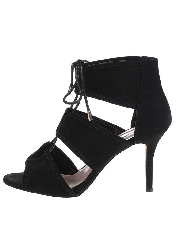 Čierne sandály v semišovej úprave na podpätku Dorothy Perkins