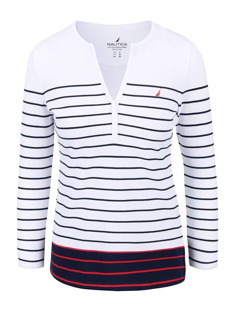 Modro-biele dámske pruhované tričko s dlhým rukávom Nautica