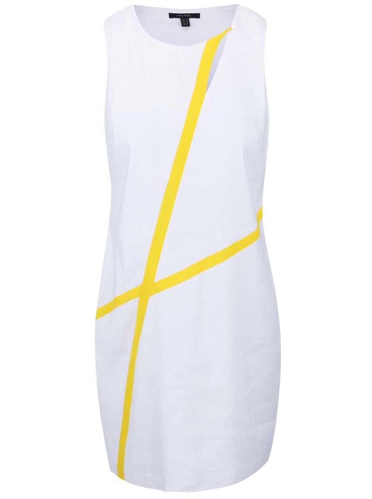 Bílé lněné šaty se žlutými detaily Nautica