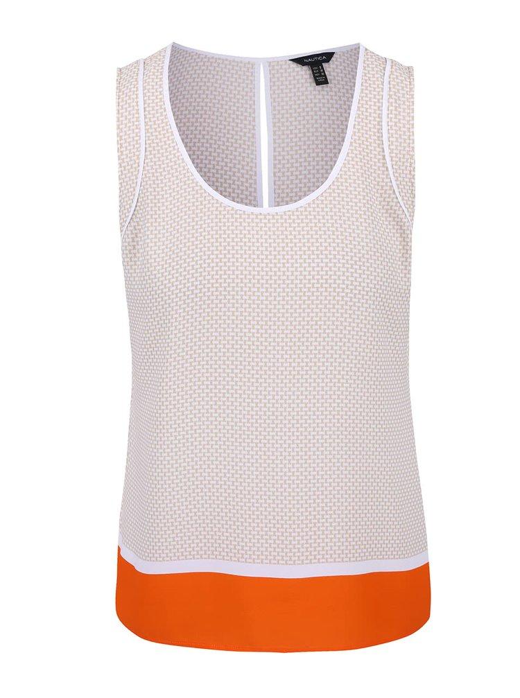 Béžovo-biely vzorovaný top s oranžovým detailom Nautica