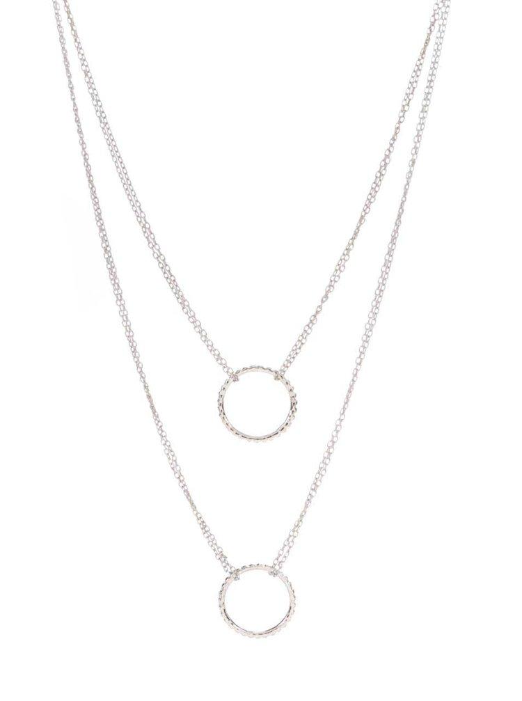 Dvojitý náhrdelník v striebornej farbe Pieces Beol