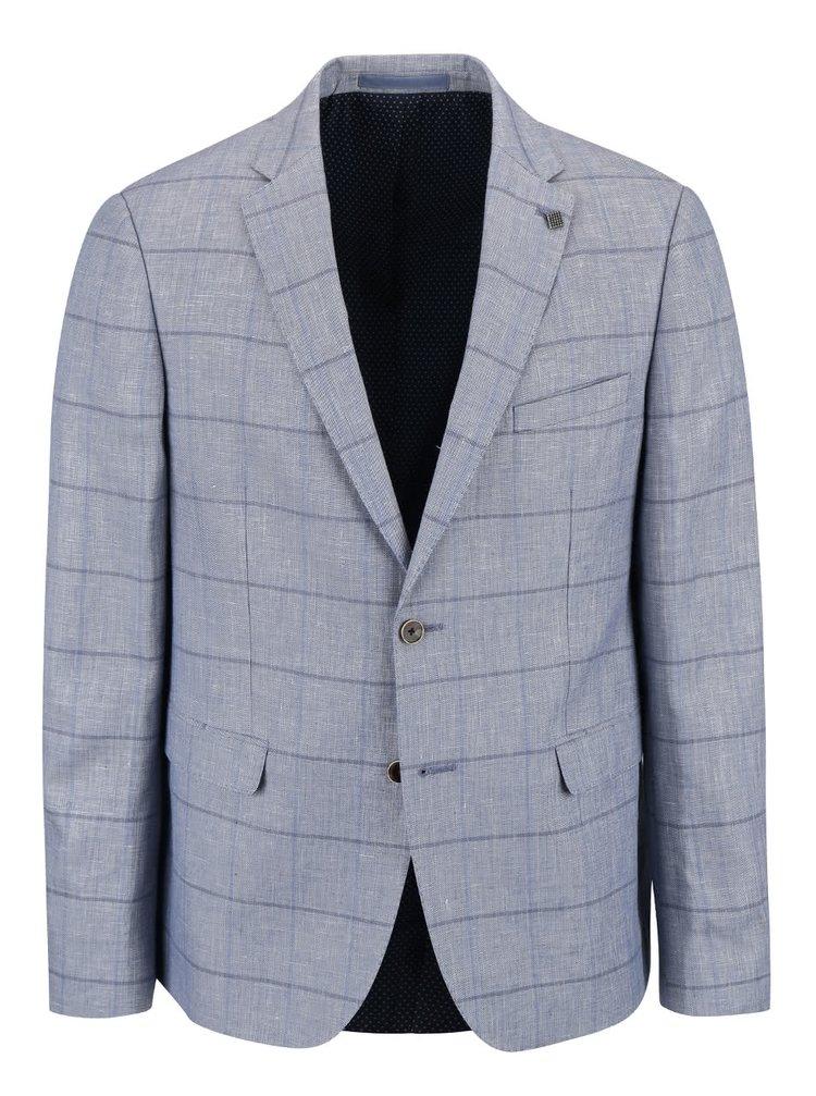 Světle modrý vzorovaný lněný blejzr Burton Menswear London