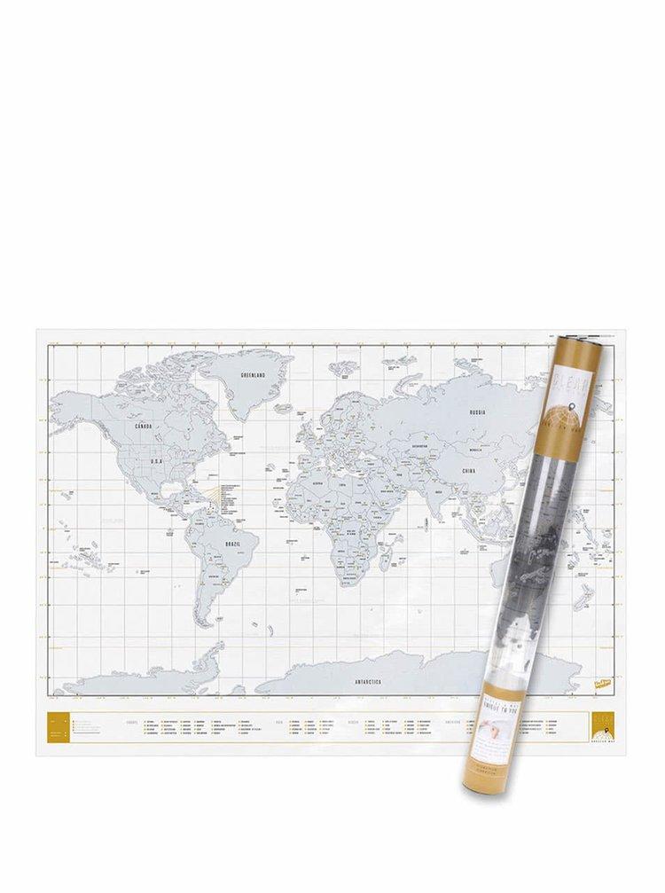 Velká nástěnná stírací mapa světa Luckies Clear Edition