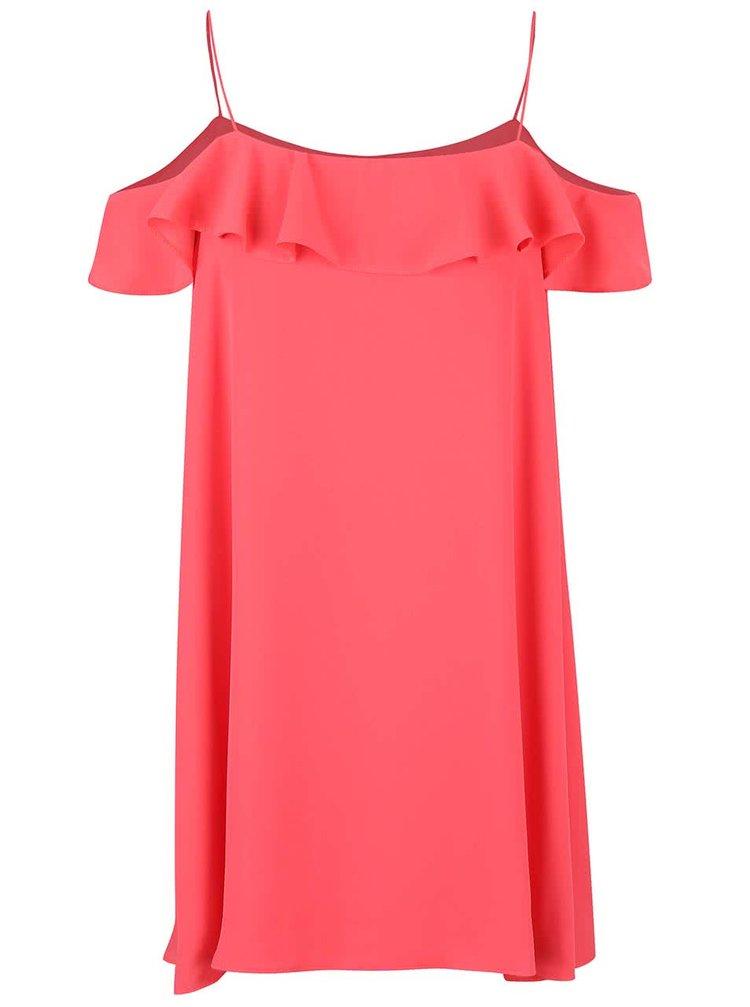 Ružové voľnejšie šaty s volánom Miss Selfridge