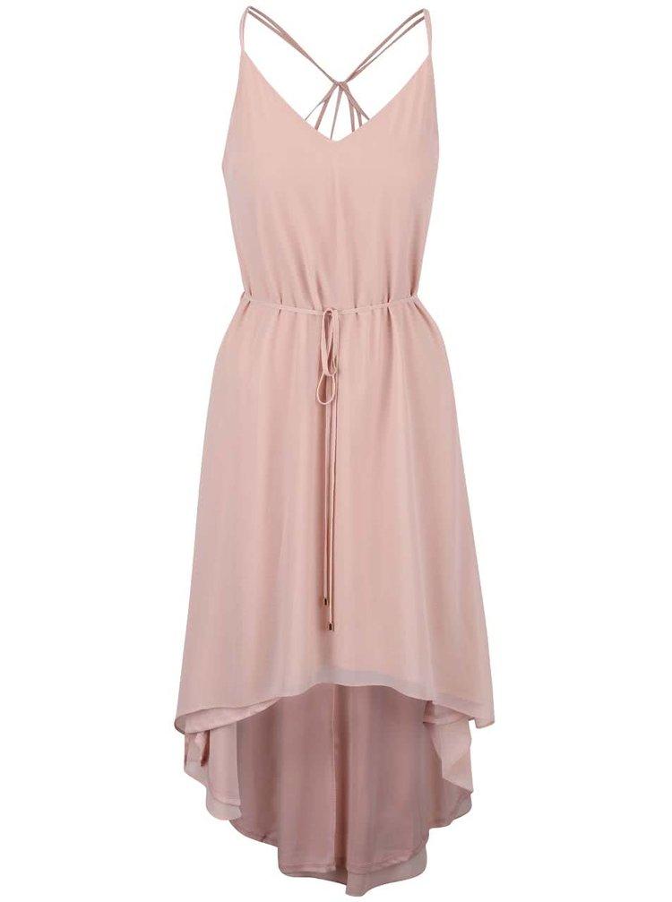 Světle růžové šaty se šňůrkou v pase Miss Selfridge