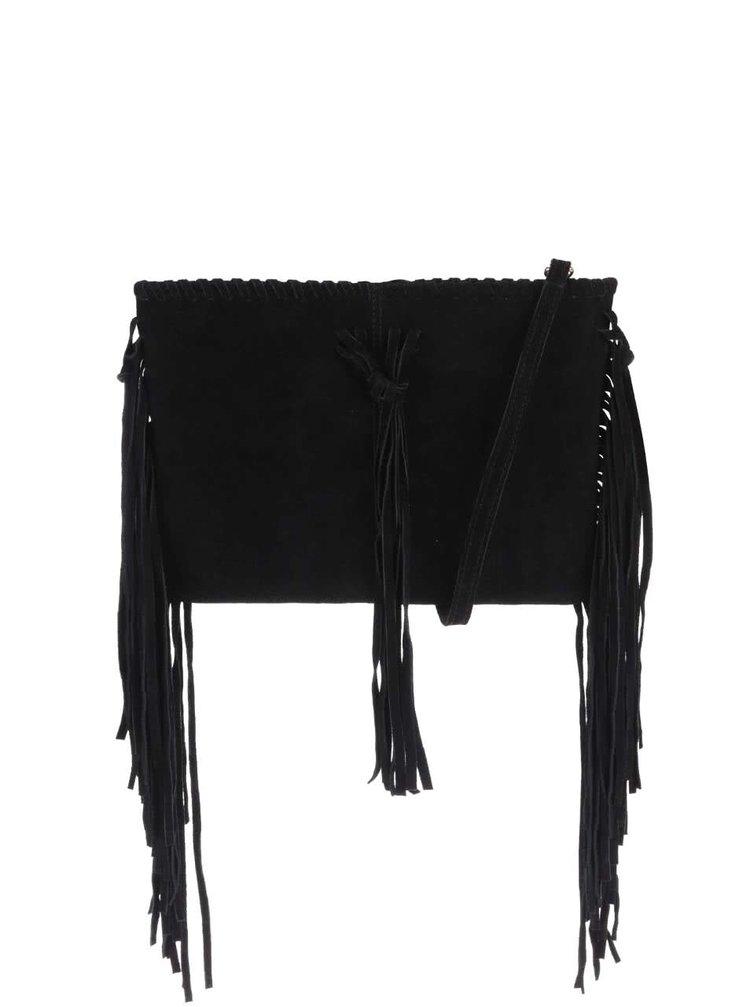Černá semišová crossbody kabelka s třásněmi Miss Selfridge