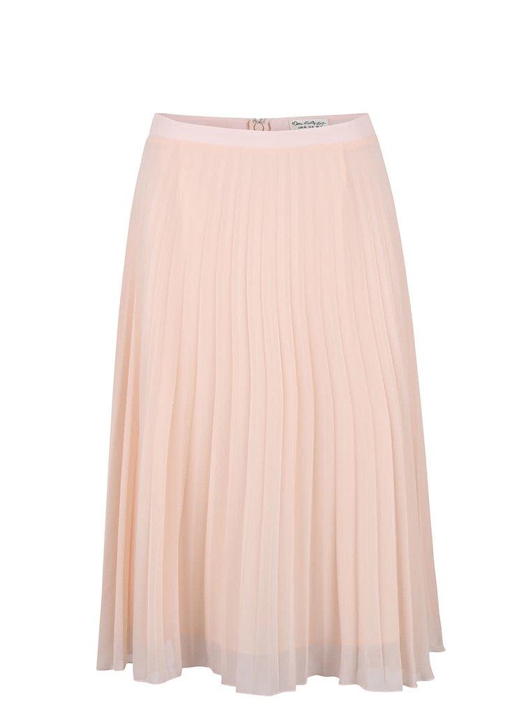 Světle růžová plisovaná midi sukně Miss Selfridge