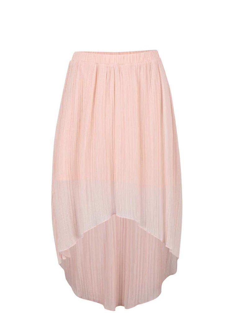 Ružová plisovaná sukňa s predĺženou zadnou dĺžkou Miss Selfridge