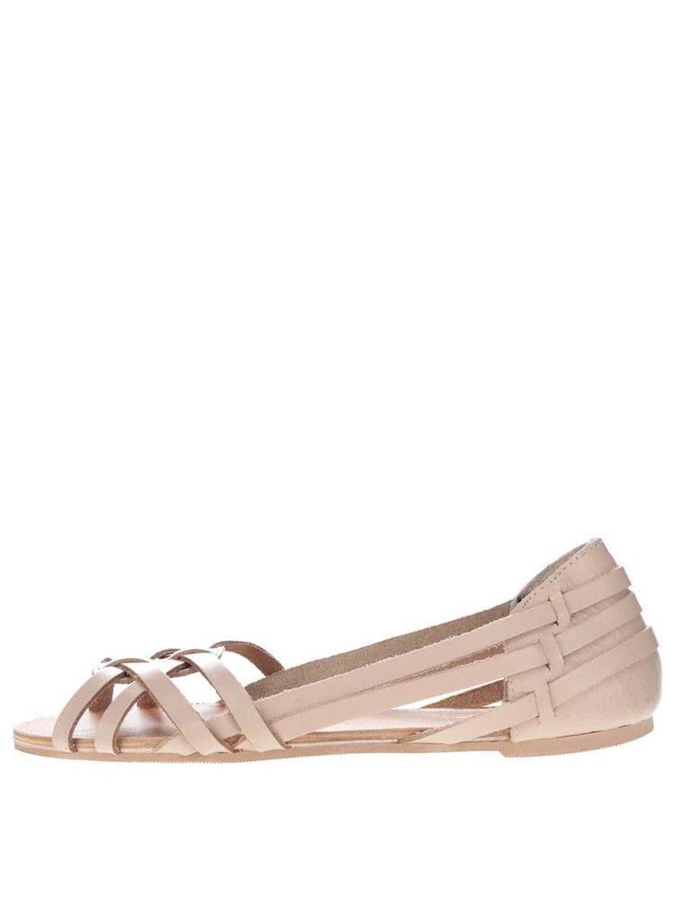 Béžové kožené sandály Miss Selfridge
