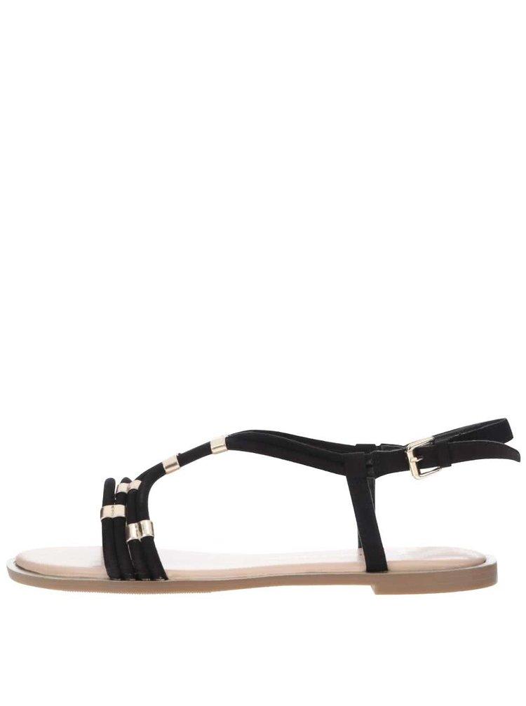 Čierne sandále s detailmi v zlatej farbe Dorothy Perkins