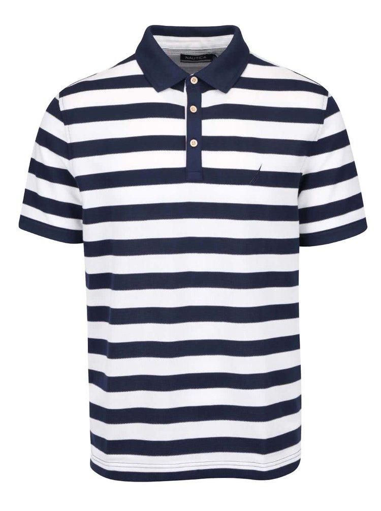Krémovo-modré pánské pruhované polo triko Nautica