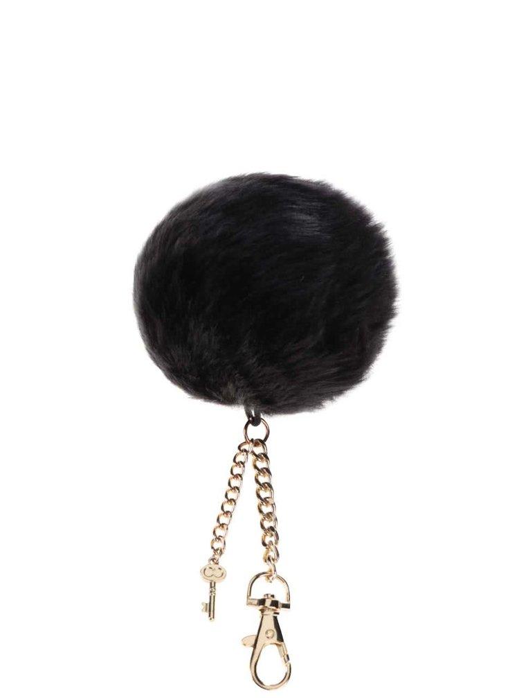 Čierny okrúhly prívesok s kľúčikom v zlatej farbe Dorothy Perkins