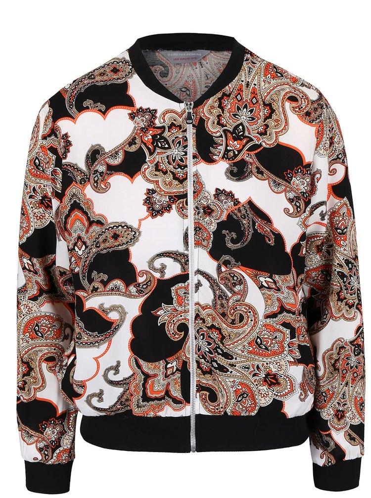 Jachetă bomber Dorothy Perkins Petite crem cu imprimeu