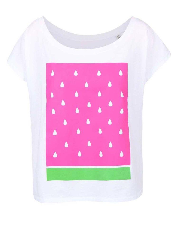 Biele dámske voľnejšie tričko ZOOT Originál Meloun