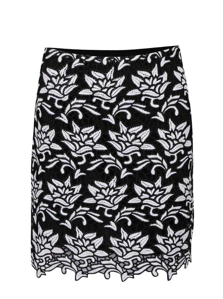 Černá vzorovaná sukně s bílými květy Dorothy Perkins