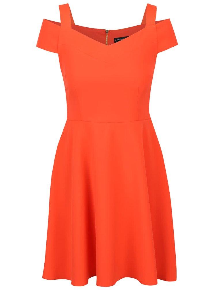 Oranžové šaty s prestrihmi na ramenách Dorothy Perkins