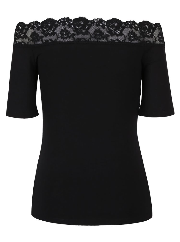 9d3e813103eb ... Čierne tričko s čipkovaným lemom a lodičkovým výstrihom Dorothy Perkins