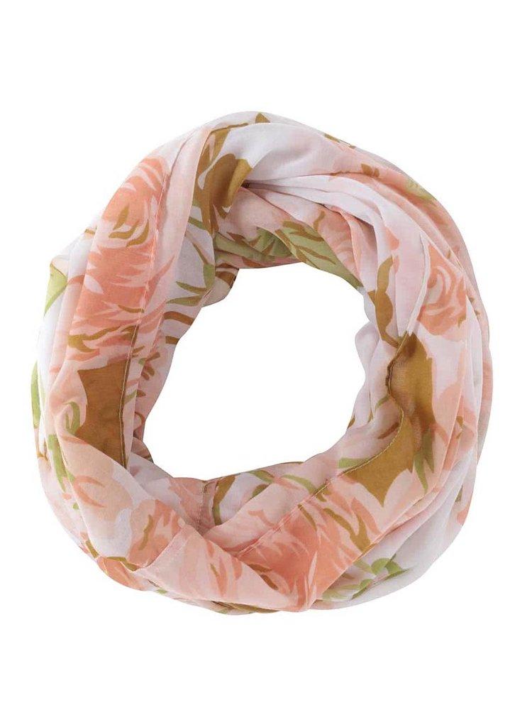 Biela tunelová šatka s kvetovaným vzorom Pieces Ni