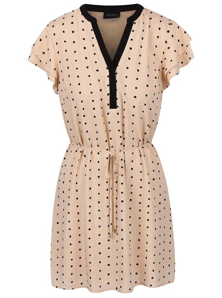 Béžové krátké šaty s puntíky VILA Dotthea