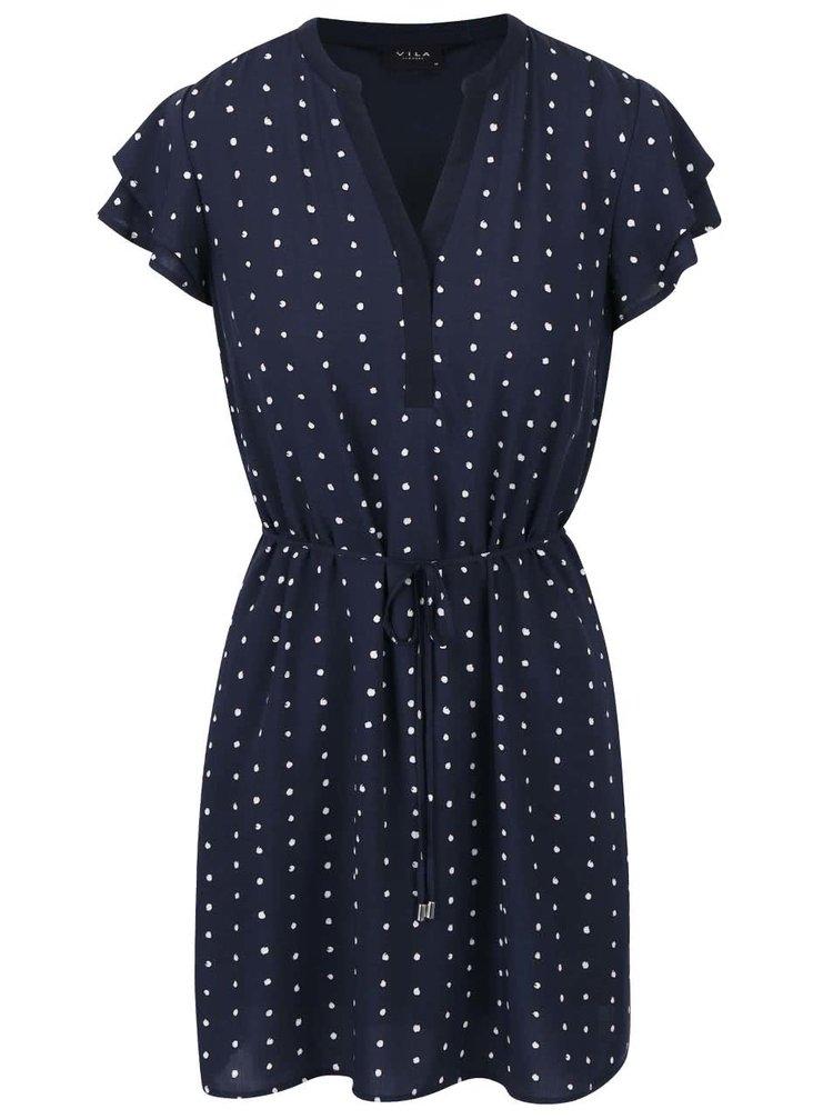 Tmavě modré krátké šaty s puntíky VILA Dotthea