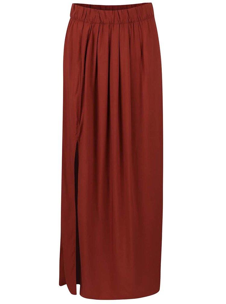 Cihlově červená maxi sukně ONLY Nova Maxi