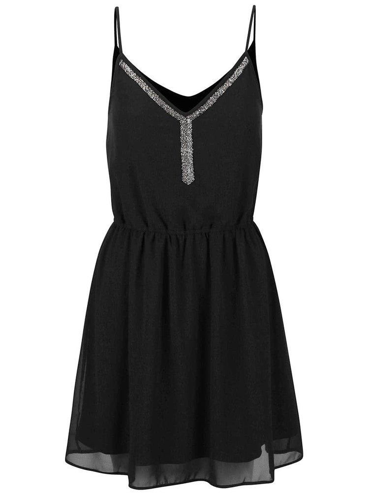 Černé šaty  s korálky ve stříbrné barvě ONLY Thea Strap