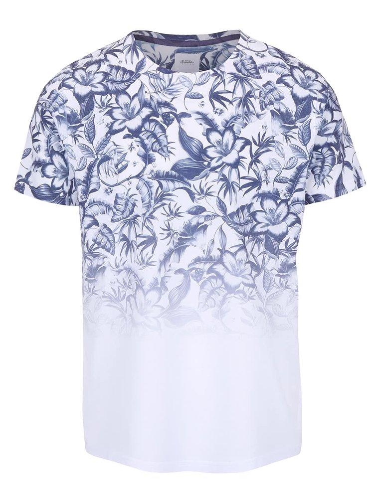 Biele tričko s modrou kvetinovou potlačou Burton Menswear London