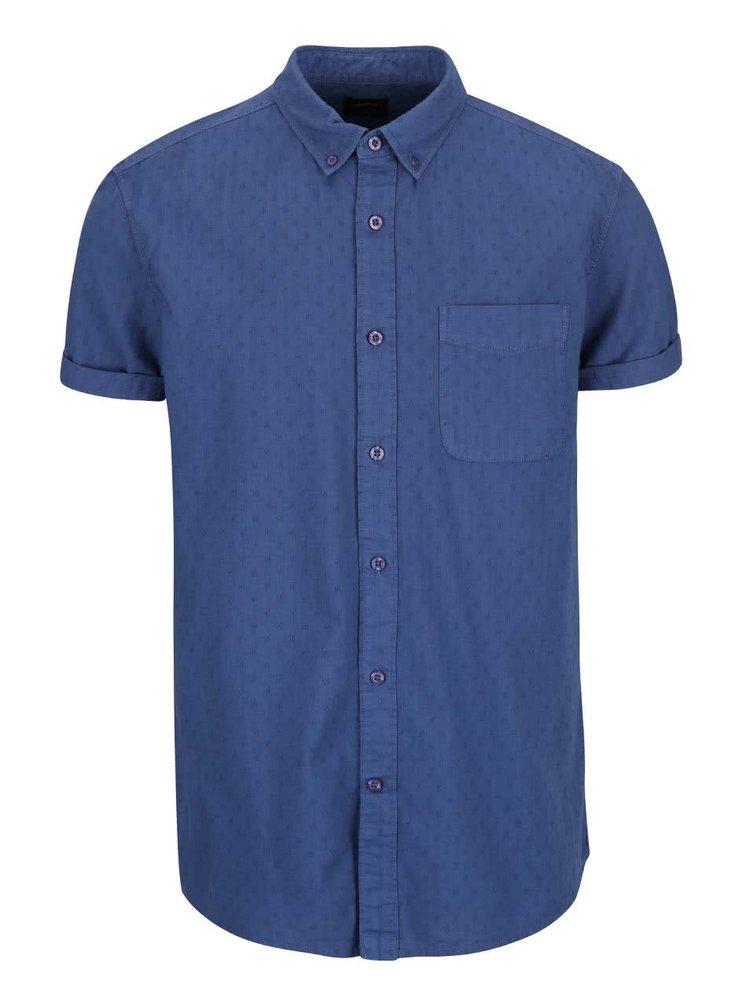 Modrá vzorovaná košeľa s s krátkym rukávom Burton Menswear London