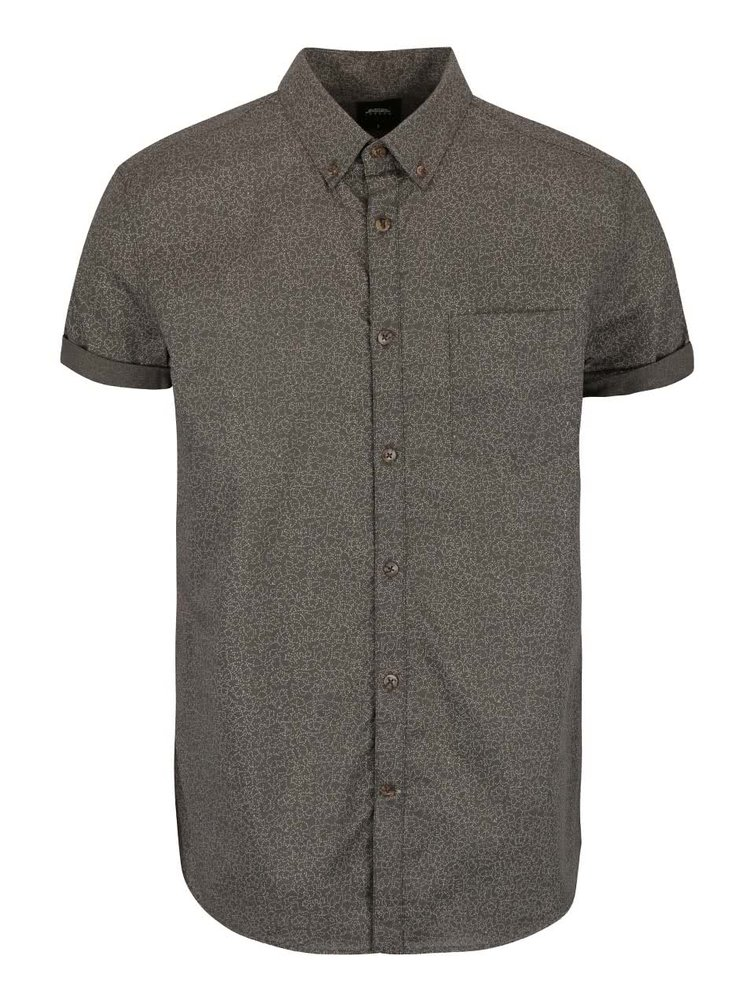 Khaki košile se vzorem Burton Menswear London