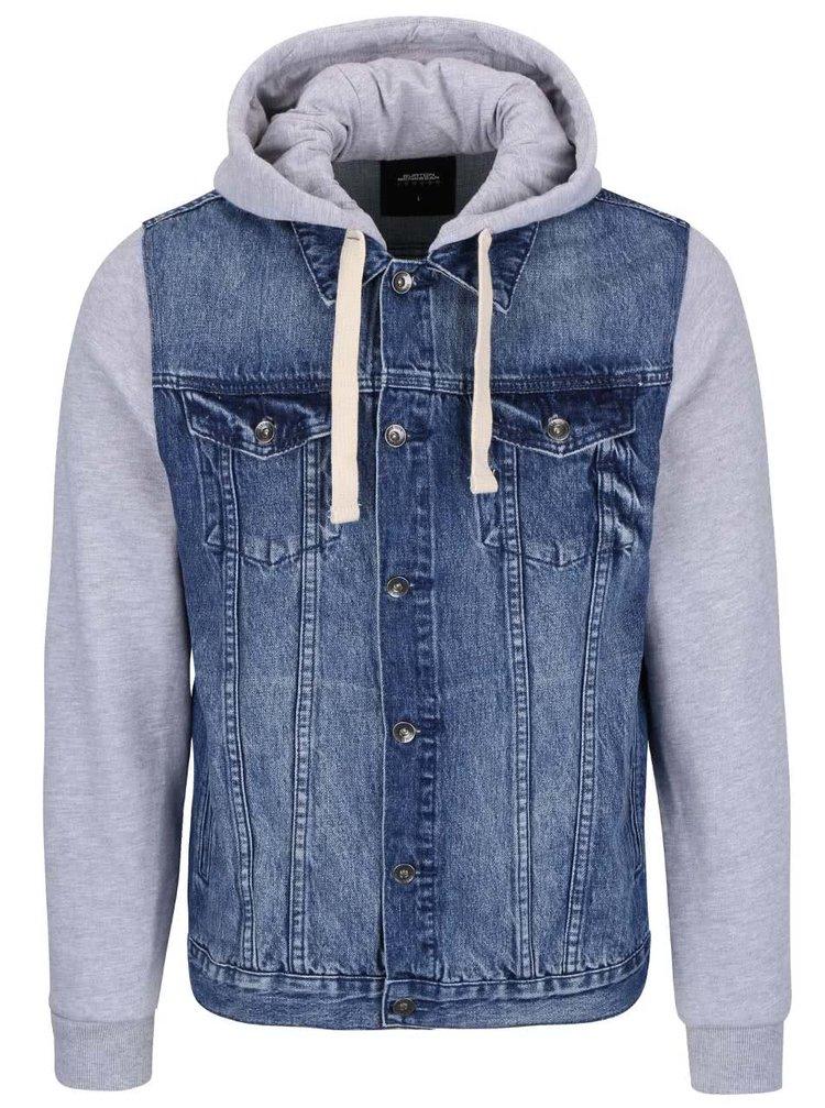 Jachetă de bărbați gri-albastru Burton Menswear London cu denim