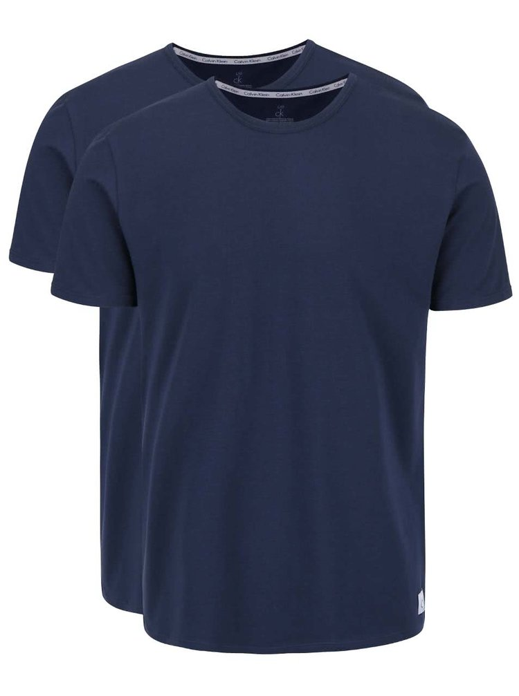 Sada dvou pánských slim fit trik v tmavě modré barvě s kulatým výstřihem pod košili Calvin Klein Underwear