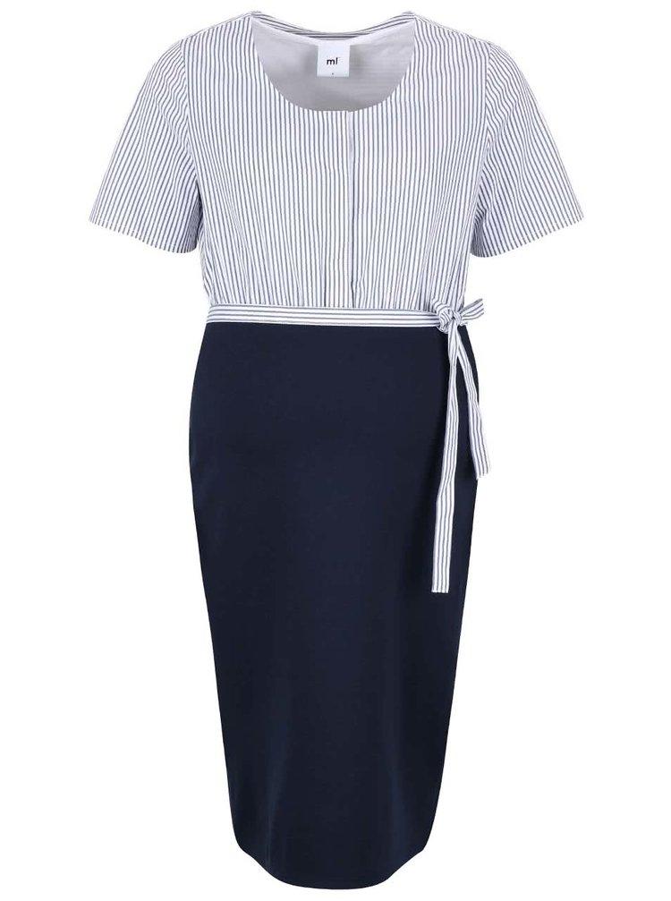 Bielo-modré pruhované tehotenské šaty Mama.licious Mojo Lia