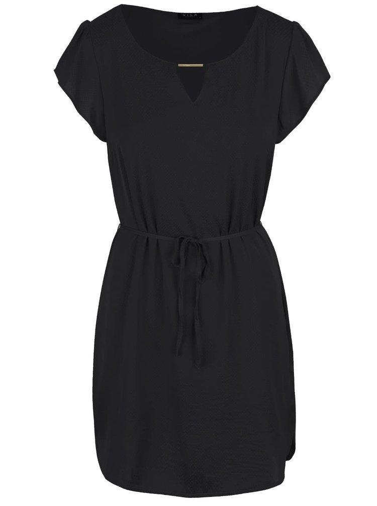 Čierne šaty s detailom ve zlatej farbe VILA Siba