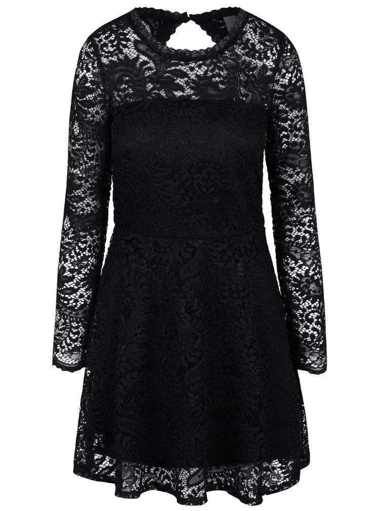 ... Černé krajkové šaty s dlouhým rukávem VERO MODA Celeb eab5703894