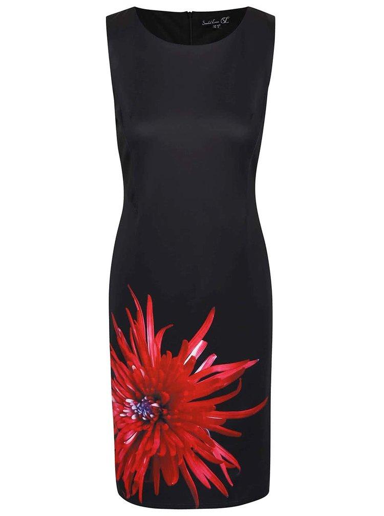 Čierne šaty s červeným kvetom Smashed Lemon