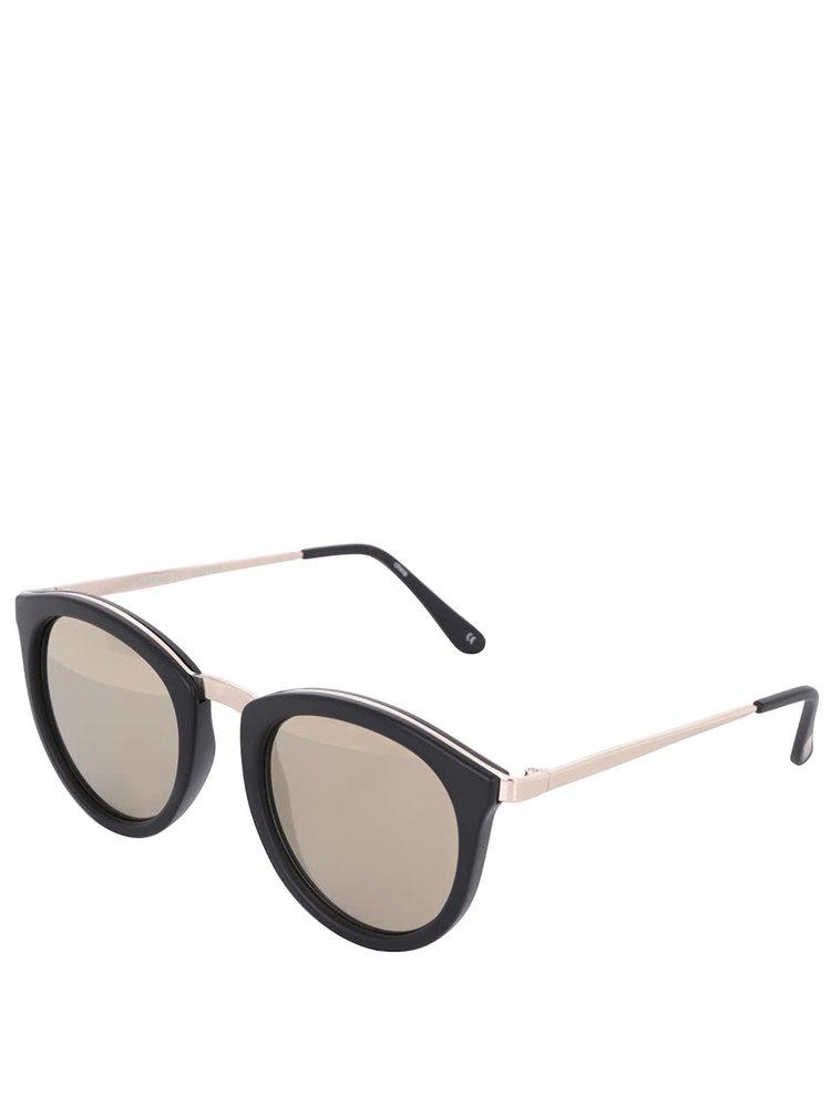 Černé matné dámské sluneční brýle se zlatými detaily Le Specs No Smirking