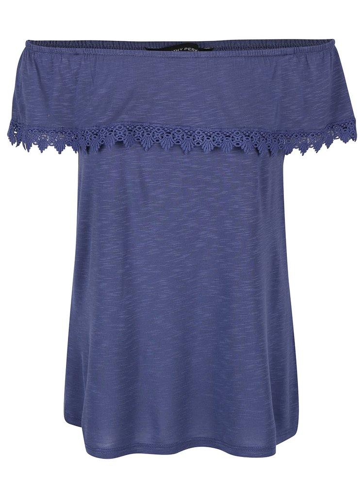 Modré melírované tričko s odhalenými ramenami Dorothy Perkins