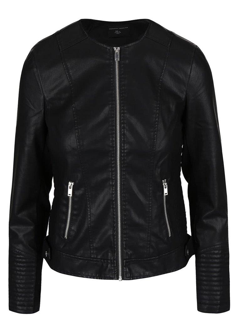 Jachetă neagră Dorothy Perkins din piele sintetică