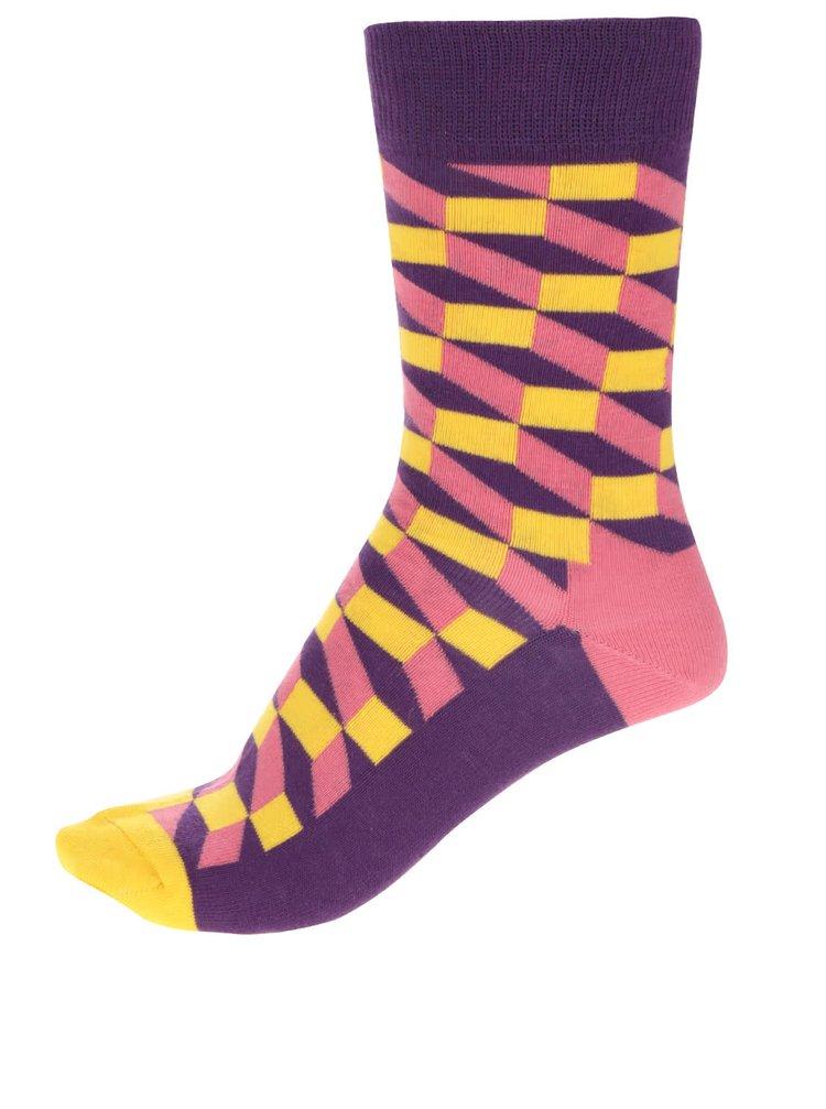 Fialovo-žlté dámske ponožky Happy Socks Filled Optic