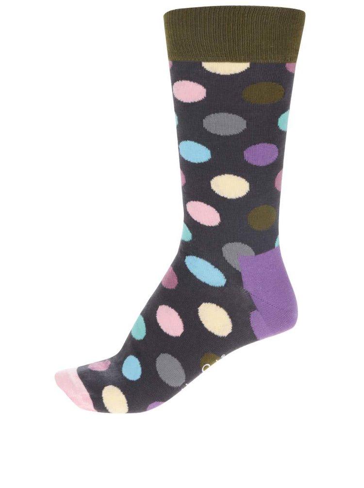 Černé pánské puntíkované ponožky Happy Socks Big Dot