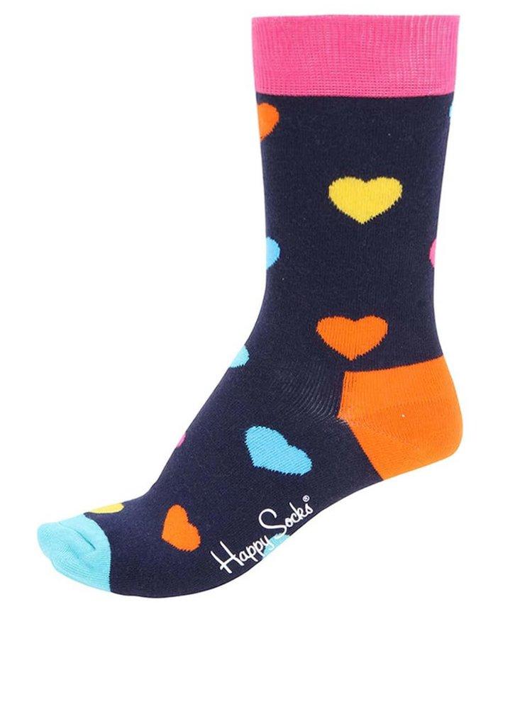 Tmavomodré unisex ponožky s motívom sŕdc Happy Socks Heart