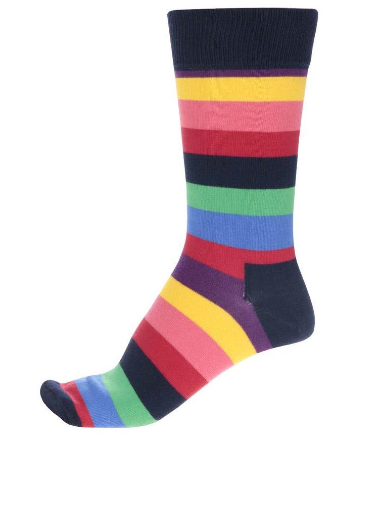 Tmavomodré unisex pruhované ponožky Happy Socks Stripe