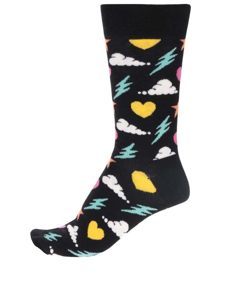 Șosete negre cu imprimeu Happy Socks Storm pentru bărbați