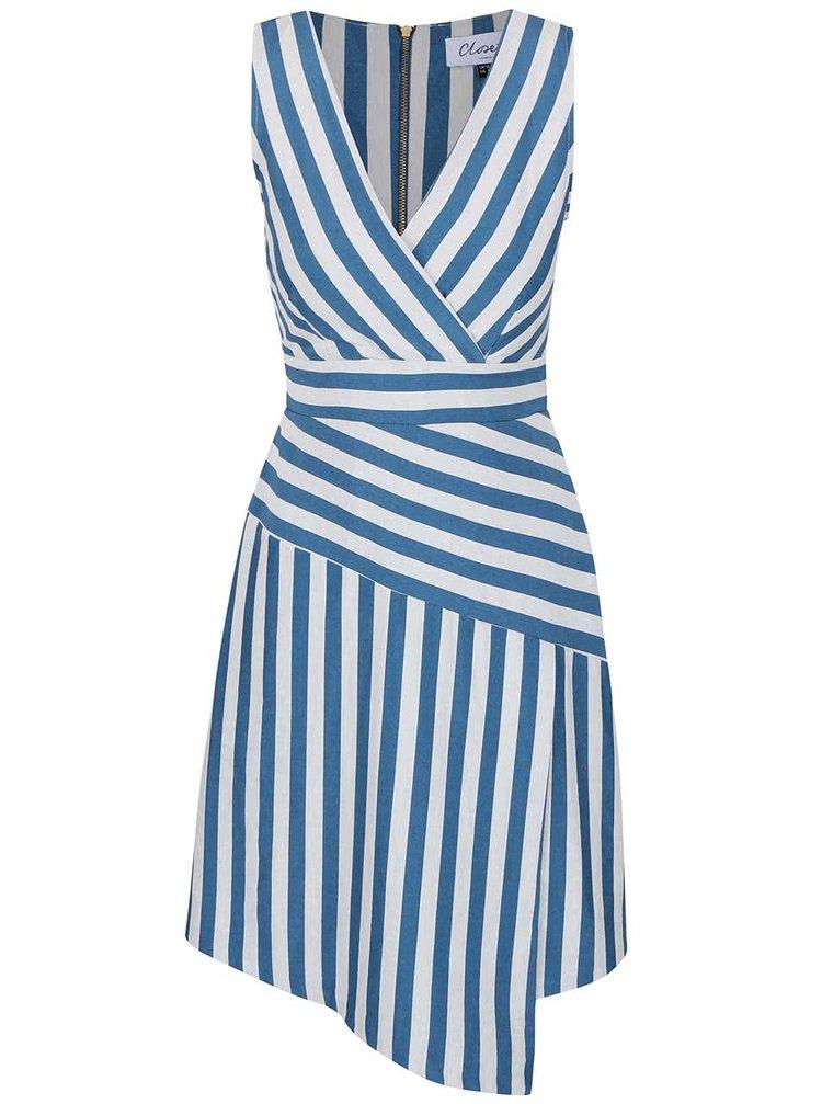 Šedo-modré pruhované šaty s překládaným výstřihem Closet